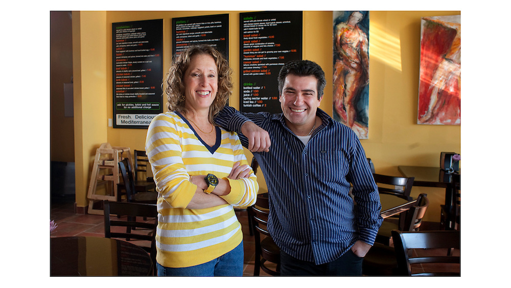 Owners Avital Mentel, left, and Fabrice Saadoun  in their new Ardmore PA, restaurant, Hummus. Photo by Ed Hille / Philadelphia Inquirer Nov 24, 2010