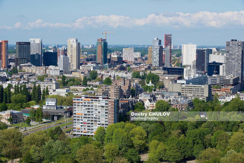 Rotterdam, Netherlands - JUNE 02, 2013: Aerial view to the modern residential buildings in Rotterdam, Netherlands.