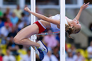 Kamila Stepaniuk from Poland competes in women's high jump final during the 14th IAAF World Athletics Championships at the Luzhniki stadium in Moscow on August 17, 2013.<br /> <br /> Russian Federation, Moscow, August 17, 2013<br /> <br /> Picture also available in RAW (NEF) or TIFF format on special request.<br /> <br /> For editorial use only. Any commercial or promotional use requires permission.<br /> <br /> Mandatory credit:<br /> Photo by © Adam Nurkiewicz / Mediasport