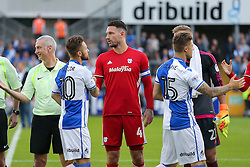 Sean Morrison of Cardiff City greets Matt Taylor of Bristol Rovers - Rogan Thomson/JMP - 11/08/2017 - FOOTBALL - Memorial Stadium - Bristol, England - Bristol Rovers v Cardiff City - EFL Cup First Round.