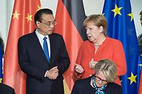 09 JUL 2018, BERLIN/GERMANY:<br /> Li Keqiang (L), Ministerpraesident der VR China, und Angela Merkel (R), CDU, Bundeskanzlerin, waehrend der Unterzeichnung von Regierungs- und Wirtschaftsabkommen im Rahmen der Deutsch-Chinesische Regierungskonsultationen, Bundeskanzleramt<br /> IMAGE: 20180709-02-004