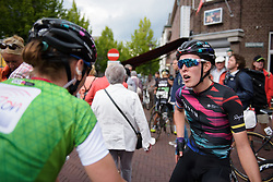 Hannah Barnes and Lisa Brennauer talk about the stage after Boels Rental Ladies Tour Stage 5 a 141.8 km road race from Stamproy to Vaals, Netherlands on September 2, 2017. (Photo by Sean Robinson/Velofocus)