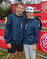 Formula 1 driver Jenson Button and his wife fashion model Jessica Michibata - photographed at the start of the Virgin Money London Marathon 2015, Sunday 26th April 2015<br /> <br /> Roger Allen for Virgin Money London Marathon<br /> <br /> For more information please contact Penny Dain at pennyd@london-marathon.co.uk
