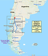Patagonia map: Argentina & Chile. <br /> — January 28–30, 2020: Fly from Seattle > Los Angeles > Lima > Buenos Aires > Bariloche. <br /> — January 31–February 10: Phase 1: road trip loop from Bariloche by three Dempseys driving 1600 miles in 11 days, first south on Argentina's Ruta 40 then returning north via Chile's Carretera Austral. <br /> — February 11–24: Phase 2: El Calafate & El Chalten. <br /> — February 25–March 4: Phase 3: Torres del Paine National Park, Chile. <br /> — March 5–7: Fly home El Calafate > Buenos Aires > Santiago > Los Angeles > Seattle.