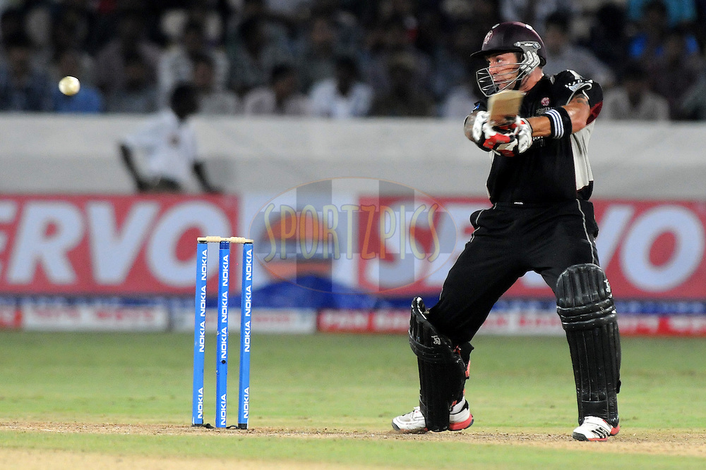 Peter Trego of Somerset bats during the CLT20 - Q6 match between Kolkata Knight Riders and Somerset held at the Rajiv Gandhi International Stadium, Hyderabad on the 21st September 2011..Photo by Pal Pillai/BCCI/SPORTZPICS