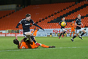 Cedwyn Scott of Dundee hurdles United's Luc Bollan  - Dundee United v Dundee, SPFL Under 20 Development League at Tannadice Park, Dundee<br /> <br />  - &copy; David Young - www.davidyoungphoto.co.uk - email: davidyoungphoto@gmail.com