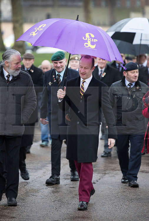 © Licensed to London News Pictures. 03/02/2018. London, UK. UKIP Leader Henry Bolton takes part in a Veterans for Justice March in central London .Photo credit: Peter Macdiarmid/LNP