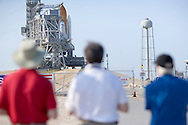 CAPE CANAVERAL, FL - MAY 10:  Space Shuttle Atlantis on launch pad 39-1as the rotating service structure is rolled back at Kennedy Space Center on May 8, 2009, in Cape Canaveral, Florida. Atlantis is scheduled to launch May 11 on an 11-day mission to service the Hubble Space Telescope. (Photo by Matt Stroshane/Getty Images)