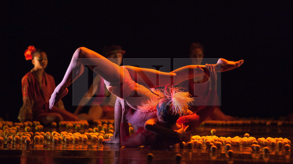 "© Licensed to London News Pictures. 15/05/2012. London, England. Rambert Dance Company - London Spring Season 2012. Performance of ""What Wild Ecstasy"" choreographed by Mark Baldwin, design by Michael Howells. Dancers: Julia Gillespie and Eryck Brahmania. Sadler's Wells Theatre, London. Photo credit: Bettina Strenske/LNP"