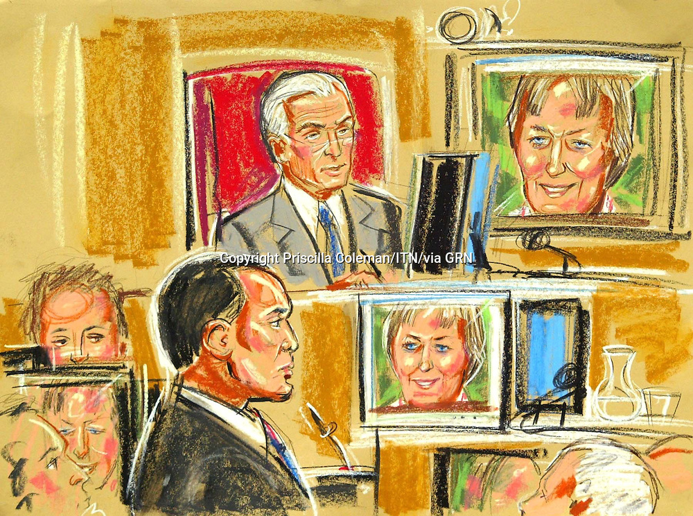 ©PRISCILLA COLEMAN (ITV).PIC SHOWS: JANICE KELLY, WIFE OF DR DAVID KELLY BEING QUESTIONED BY JAMES DINGEMAN QC, VIA VIDEO-LINK, AT THE HUTTON INQUIRY INTO THE DEATH OF DR DAVID KELLY..ARTWORK BY: PRISCILLA COLEMAN (ITV)