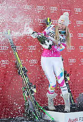 18-01-2015 AUT: Alpine Skiing World Cup, Cortina d Ampezzo<br /> 1st placed Lindsey Vonn of the USA Celebrate on Podium during the award ceremony for the ladie's Downhill of the Cortina FIS Ski Alpine World Cup at the Olympia delle Tofane course in Cortina d Ampezzo, Italy<br /> <br /> ***NETHERLANDS ONLY***