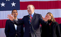 Wisconsin Governor Jim Doyle, center, speaks to supporters as he and U.S. Senator Barack Obama (D-ILL) campaign for a get out the vote rally a week before the elections Tuesday Oct. 31, 2006 Milwaukee.  photo by Darren Hauck......