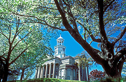Vicksburg, Mississippi:  Surrounded by aged dogwod trees, the old courthouse now serves as a historical museum.