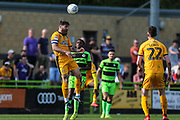 Cambridge United's Gary Deegan(6) heads the ball during the EFL Sky Bet League 2 match between Forest Green Rovers and Cambridge United at the New Lawn, Forest Green, United Kingdom on 22 April 2019.
