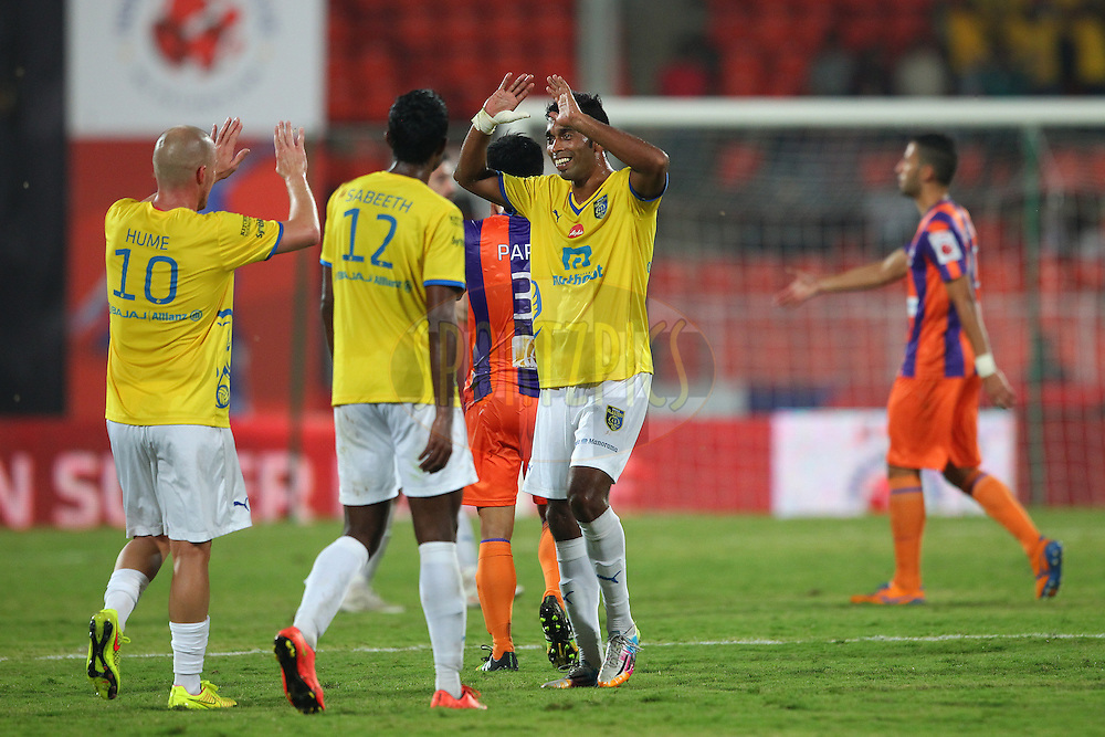 Kerala players celebrate the win during match 17 of the Hero Indian Super League between FC Pune City<br /> and Kerala Blasters FC held at the Shree Shiv Chhatrapati Sports Complex Stadium, Pune, India on the 30th October 2014.<br /> <br /> Photo by:  Ron Gaunt/ ISL/ SPORTZPICS