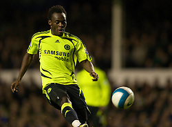 LIVERPOOL, ENGLAND - Thursday, April 17, 2008: Chelsea's Michael Essien scores the opening goal against Everton during the Premiership match at Goodison Park. (Photo by David Rawcliffe/Propaganda)