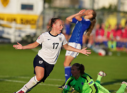 28.08.2013, Richmond Park, Carmarthen, ENG, UEFA Damen U19 EM, England vs Finnland, im Bild England's Bethany Mead celebrates scoring the first goal against Finland during the Semi-Final match of the UEFA Women's Under-19 Championship Wales 2013 tournament at Richmond Park. during the UEFA women U 19 championchip group A match between England and Finland at Richmond Park in Carmarthen, Great Britain on 2013/08/28. EXPA Pictures © 2013, PhotoCredit: EXPA/ Propagandaphoto/ David Rawcliffe<br /> <br /> ***** ATTENTION - OUT OF ENG, GBR, UK *****