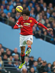 MANCHESTER, ENGLAND - Sunday, November 2, 2014: Manchester United's Marouane Fellaini in action against Manchester City during the Premier League match at the City of Manchester Stadium. (Pic by David Rawcliffe/Propaganda)