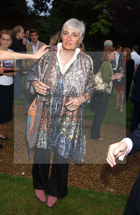 LADY WHEELER wife of Stuart Wheeler at the No Campaign's Summer Party - a celebration of the 'Non' and 'Nee' votes in the Europen referendum in France and The Netherlands held at The Peacock House, 8 Addison Road, London W14 on 5th July 2005.<br />