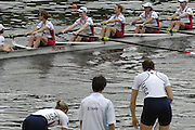 Lucerne, SWITZERLAND.  CAN W8+ and USA W8+, at the  2008 FISA World Cup Regatta, Round 2.  Lake Rotsee, on Sunday, 01/06/2008.  [Mandatory Credit:  Peter Spurrier/Intersport Images].Lucerne International Regatta. Rowing Course, Lake Rottsee, Lucerne, SWITZERLAND.