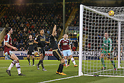 The ball comes to rest on top of the net as Nottingham Forest goalkeeper Dorus de Vries  watches on during the Sky Bet Championship match between Burnley and Nottingham Forest at Turf Moor, Burnley, England on 23 February 2016. Photo by Simon Davies.