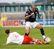 Gary Harkins goes past Jonathon Brown - Stirling Albion v Dundee, IRN BRU Scottish League 1st Division, Forthbank Stadium, Stirling<br /> <br />  - © David Young<br /> ---<br /> email: david@davidyoungphoto.co.uk<br /> http://www.davidyoungphoto.co.uk