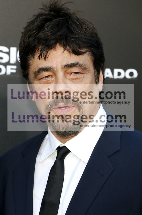 Benicio del Toro at the Los Angeles premiere of 'Sicario: Day Of The Soldado' held at the Regency Village Theatre in Westwood, USA on June 26, 2018.