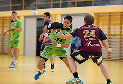 09.12.2014, Sporthalle, Leoben, AUT, OeHB-Cup Achtelfinale, Union JURI Leoben vs SG INSIGNIS Handball West Wien, im Bild Augustas Strazdas (West Wien), Andreas Schwarz (Leoben) // durning the OeHB-Cup, Round of the last sixteen, between, Union JURI Leoben vs SG INSIGNIS Handball West Wien at the Sport Hall, Leoben, Austria on 2014/12/09, EXPA Pictures © 2014, PhotoCredit: EXPA/ Dominik Angerer