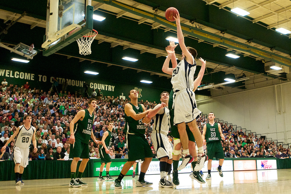 The Vermont state division I boys basketball championship game between the Rice Green Knights and the Mount Mansfield Cougars at Patrick Gym on Thursday night March 8, 2012 in Burlington, Vermont.