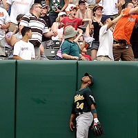 27 May 2007:   A two-run home run off the bat of Baltimore Orioles third baseman Melvin Mora that knocked in left fielder Jay Payton in the 4th inning bounces off the head of a fan trying to catch it as Oakland Athletics left fielder Shannon Stewart looks up.  The Orioles defeated the Athletics 8-4 at Camden Yards in Baltimore, MD.   ****For Editorial Use Only****