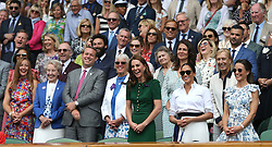 July 13, 2019 - London, United Kingdom - Catherine, Duchess of Cambridge (L), Meghan, Duchess of Sussex (C) and Pippa Matthews (R) in the Royal Box at the end of the final. (Credit Image: © Andrew Patron/ZUMA Wire)
