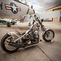 Custom motorcycle and T-28, Planes and Cars at the Santa Fe Airport, 2013 Santa Fe Concorso.
