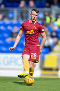 David Turnbull (#28) of Motherwell FC passes the ball during the Ladbrokes Scottish Premiership match between St Johnstone and Motherwell at McDiarmid Stadium, Perth, Scotland on 11 May 2019.