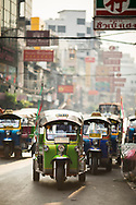 Tuk tuk parked in a street of Chinatown, Bangkok, Thailand, Southeast Asia