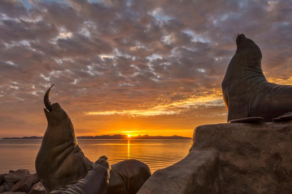 Sea Lion sculpture on the marina jetty at Loreto, Baja California Sur, Mexico.