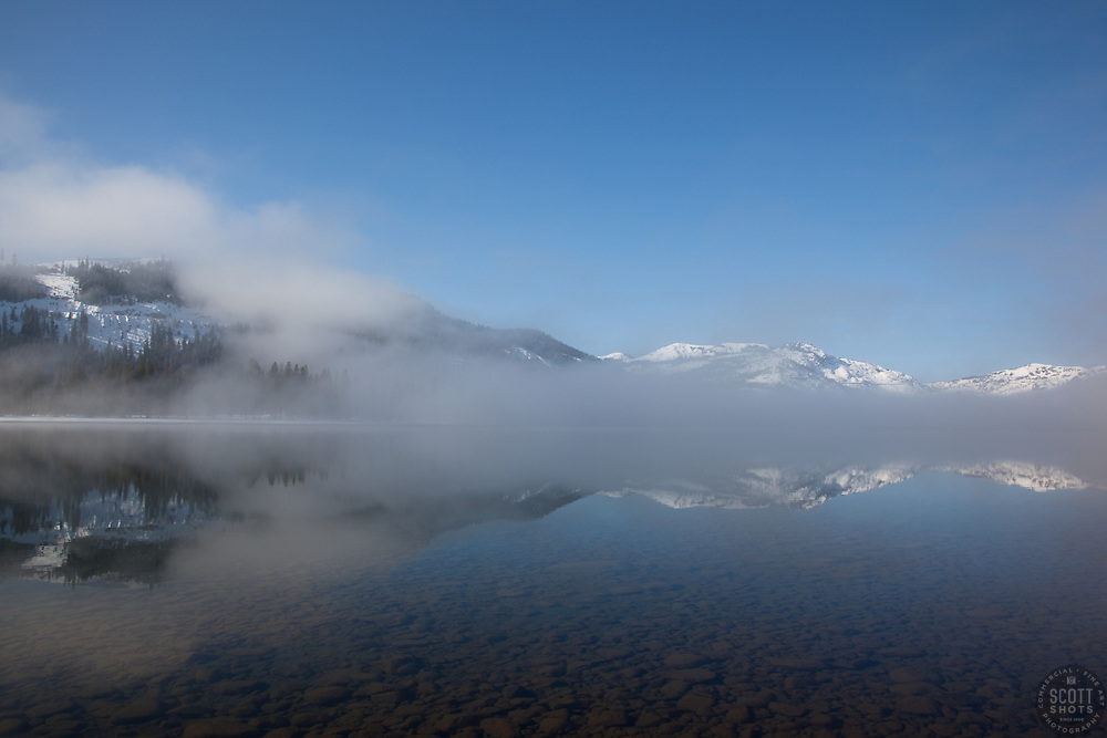 """Donner Lake Morning 3"" - These foggy lake and snow covered mountains were photographed at Donner Lake in Truckee, CA."