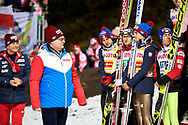 Poland, Wisla Malinka - 2017 November 18: Witold Pasek Marketing's Director of Lotos Company walks while awarding ceremony during FIS Ski Jumping World Cup Wisla 2017/2018 - Day 2 at jumping hill of Adam Malysz on November 18, 2017 in Wisla Malinka, Poland.<br /> <br /> Mandatory credit:<br /> Photo by © Adam Nurkiewicz<br /> <br /> Adam Nurkiewicz declares that he has no rights to the image of people at the photographs of his authorship.<br /> <br /> Picture also available in RAW (NEF) or TIFF format on special request.<br /> <br /> Any editorial, commercial or promotional use requires written permission from the author of image.