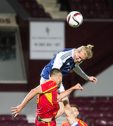 Scotland's Oliver McBurnie commands in the air during Scotland Under-21 v FYR Macedonia,  UEFA Under 21 championship qualifier  at Tynecastle, Edinburgh. Photo: David Young<br /> <br />  - &copy; David Young - www.davidyoungphoto.co.uk - email: davidyoungphoto@gmail.com