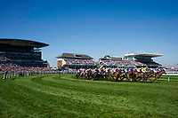 National Hunt Horse Racing - 2017 Randox Grand National Festival - Saturday, Day Three [Grand National Day]<br /> <br /> GV of the racecourse on a sunny day as  the full field approaches the int bendin the 1st race the 1.45 Gaskells Handicap Hurdle at Aintree Racecourse.<br /> <br /> COLORSPORT/WINSTON BYNORTH