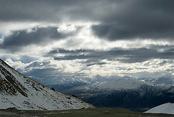 Storm clouds above the slopes at The Remarkables ski resort in Queenstown, New Zealand.