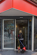 Two pet dogs wearing red coat stand outside a red-themed business in central London