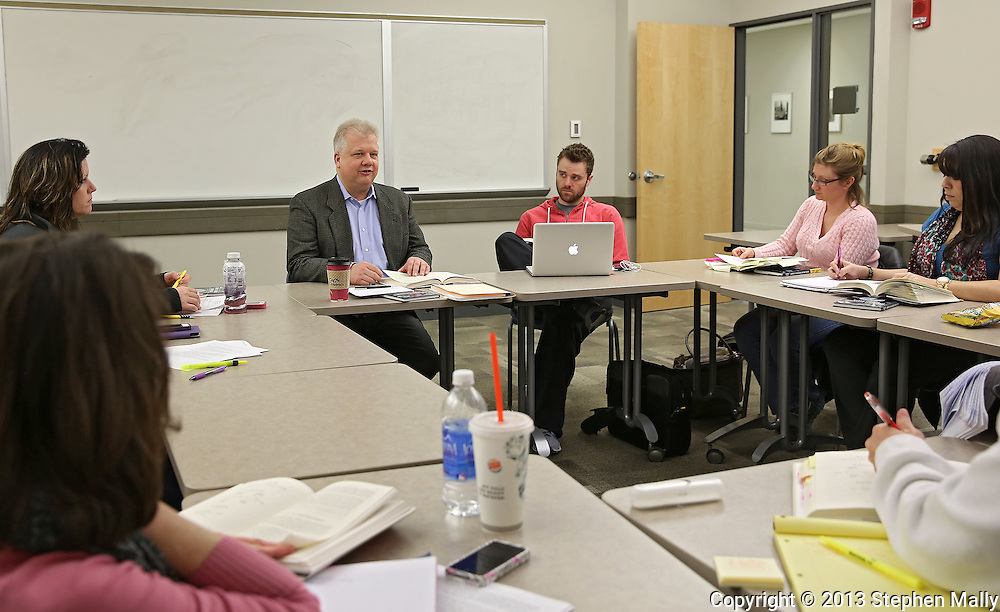 George Hollins of On-Track: The Strategic Solutions Company leads a class in Cedar Hall at Kirkwood Community College in Cedar Rapids on Monday, February 25 2013.