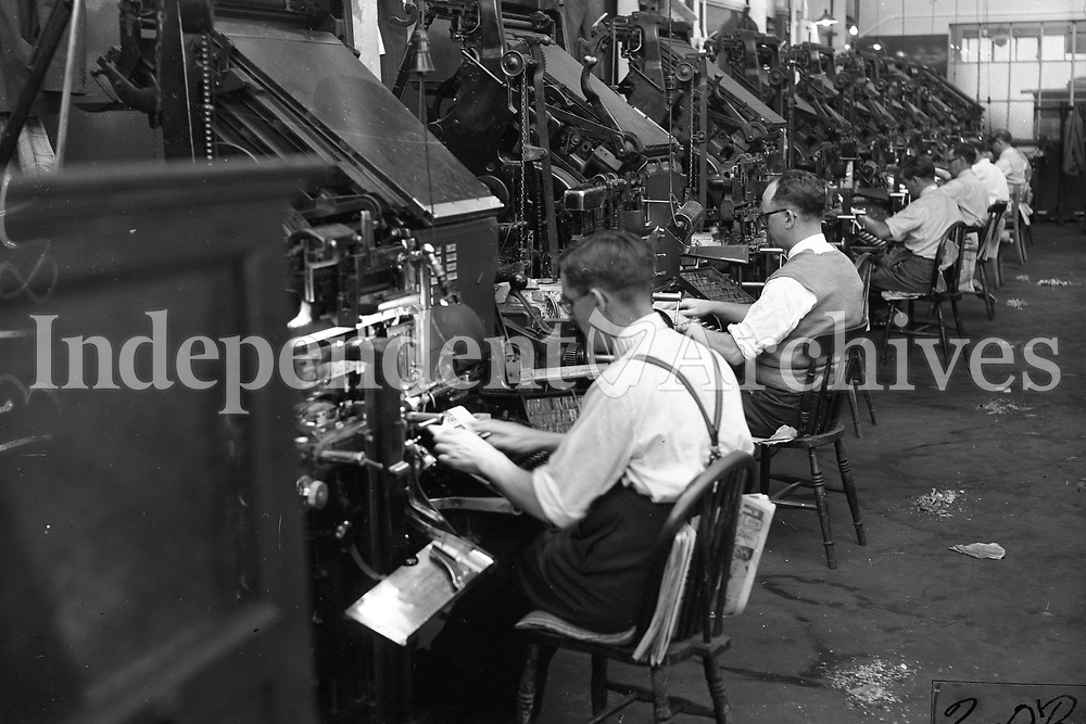 13.184<br /> From a miscellaneous box in the archives.<br /> Linotype and Intertype linecasting machines in The Lino Hall in Independent Newspapers' offices in Middle Abbey Street, Dublin<br /> (Part of the Independent Ireland Newspapers/NLI Collection)