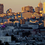 View of San Francisco in the afternoon from near the Mission District's Dolores Park.