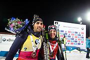 &Ouml;STERSUND, SVERIGE - 2017-12-03: Martin Fourcade Quentin Fillon Maillet under herrarnas jaktstart t&auml;vling under IBU World Cup Skidskytte p&aring; &Ouml;stersunds Skidstadion den 2 december 2017 i &Ouml;stersund, Sverige.<br /> Foto: Johan Axelsson/Ombrello<br /> ***BETALBILD***
