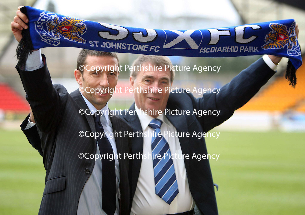 St Johnstone's new manager Derek McInnes who took up the reins at McDiarmid Park this morning, pictured with Chairman Geoff Brown<br /> see story by Gordon Bannerman Tel: 01738 553978 or 07729 865788<br /> Picture by Graeme Hart.<br /> Copyright Perthshire Picture Agency<br /> Tel: 01738 623350  Mobile: 07990 594431