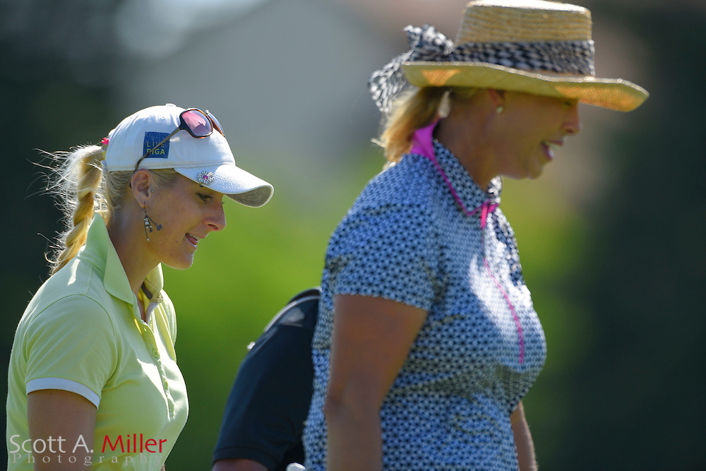 Laura Jansone and Michelle McGann during the final round of the Chico's Patty Berg Memorial on April 19, 2015 in Fort Myers, Florida. The tournament feature golfers from both the Symetra and Legends Tours.<br /> <br /> &copy;2015 Scott A. Miller