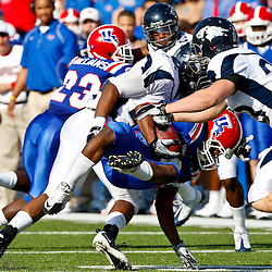 December 4, 2010; Ruston, LA, USA; Louisiana Tech Bulldogs wide receiver Phillip Livas (6) is tackled on a kickoff return against the Nevada Wolf Pack during the first half at Joe Aillet Stadium.  Mandatory Credit: Derick E. Hingle