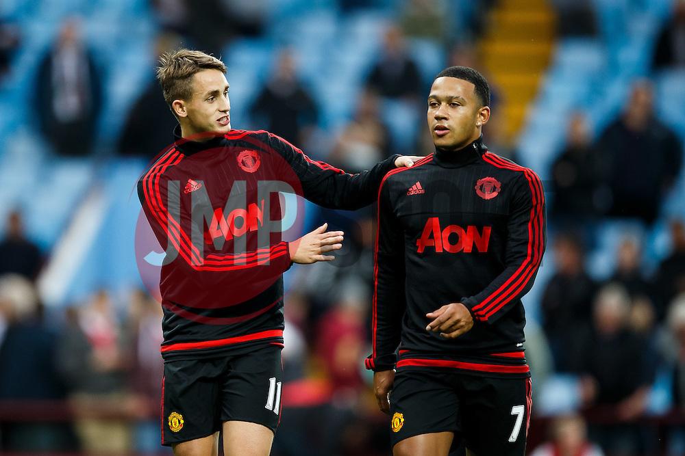 Adnan Januzaj and Memphis Depay of Manchester United talk before the game - Mandatory byline: Rogan Thomson/JMP - 07966 386802 - 14/08/2015 - FOOTBALL - Villa Park Stadium - Birmingham, England - Aston Villa v Manchester United - Barclays Premier League.