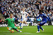 Leicester City midfielder Demarai Gray (7) shot is saved by Burnleys Joe Hart during the Premier League match between Leicester City and Burnley at the King Power Stadium, Leicester, England on 10 November 2018.